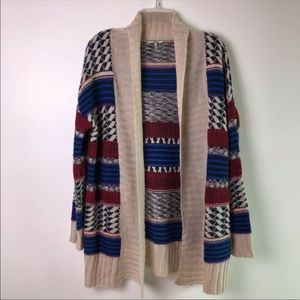 Buckle Open Front Long Cardigan Wool Blend -F37